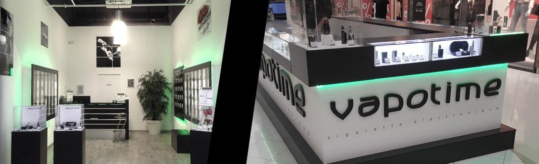 photo montage d'un stand vapotime en centre commercial et du magasin vapotime de Montauban